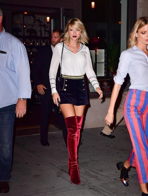 Taylor Swift in velvet boots