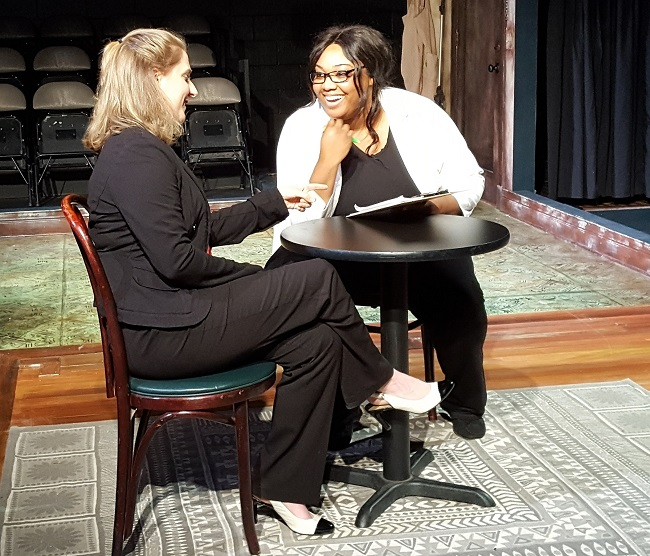Anna Dunbar and Deveon Bromby rehearse a scene from Endeavor Mind
