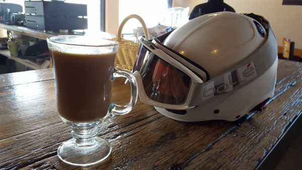 A boozy drink and a ski helmet