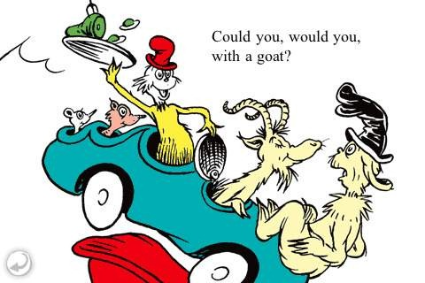 Green Eggs and Ham image: Could you, would you with a goat?